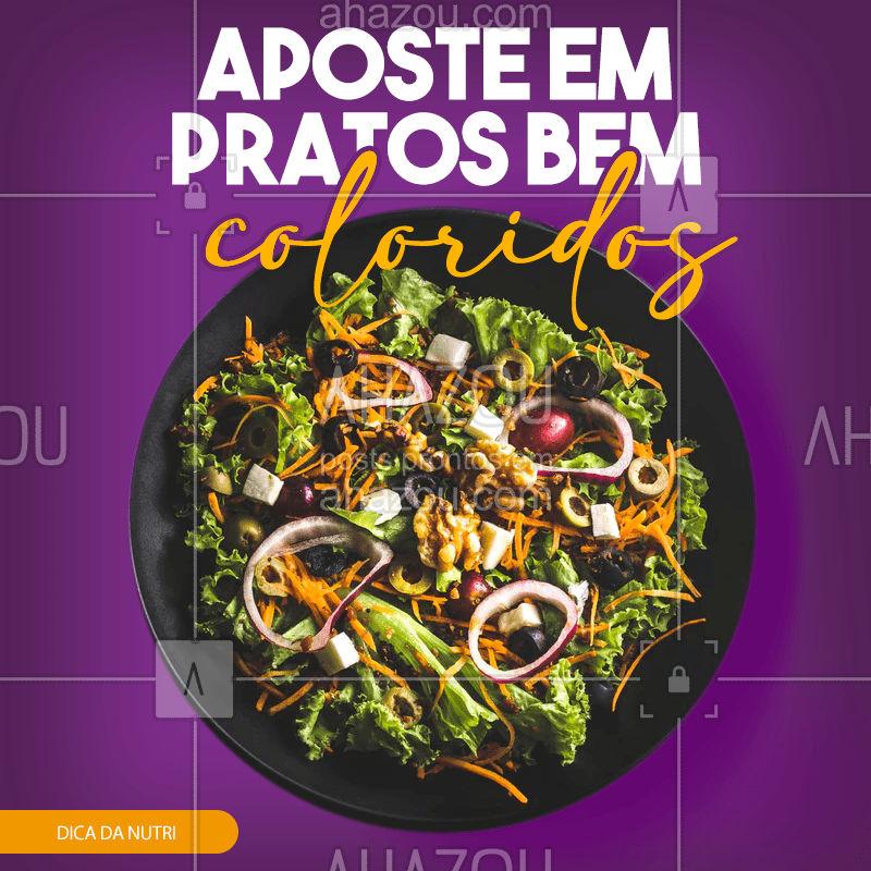 Cores para que te quero! Uma boa alimentação é medida pela variedade de cores que você coloca no seu prato, com muitas verduras e legumes. ?  #AhazouSaúde #Nutrição #DicadaNutri #Saúde #SaúdeeBemEstar #AlimentaçãoSaudável