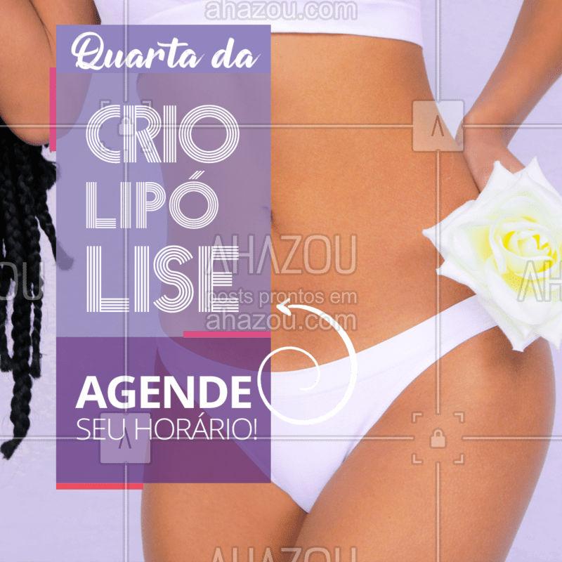 Bora congelar as gordurinhas? Não fique de fora e agende o seu horário agora mesmo! ? #criolipolise #quarta #ahazou #crioday