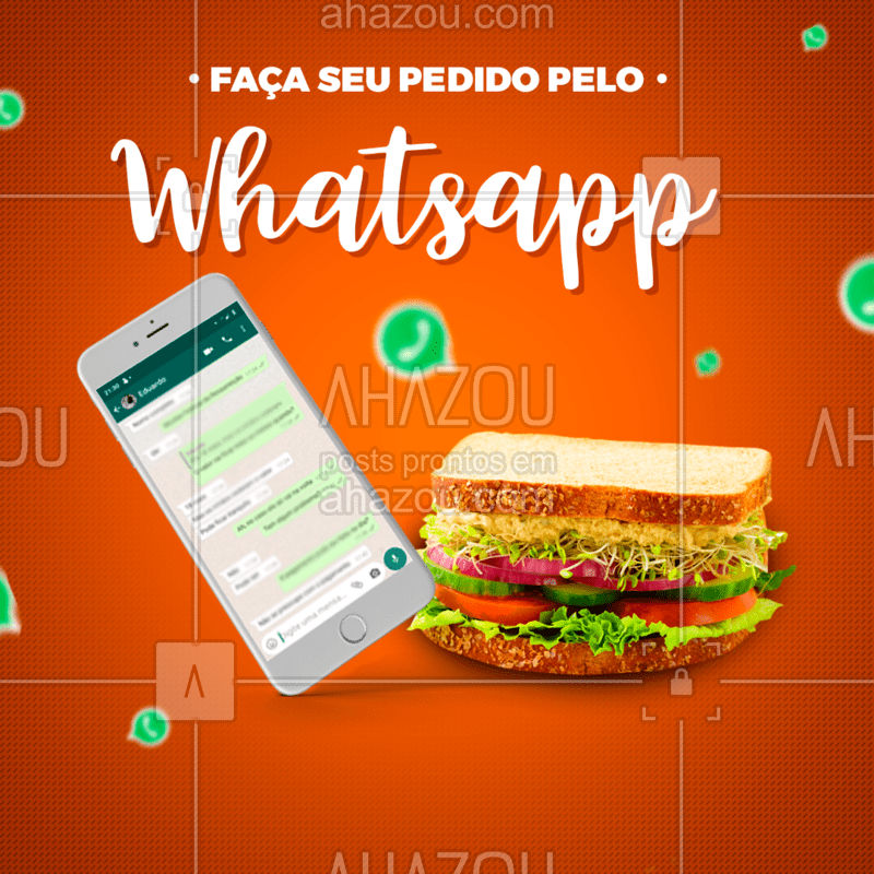 Atendimento rápido e eficiente no whatsapp! Entre em contato:...! #ahazou #food #delivery #whatsapp #comida #gastronomia #atendimento