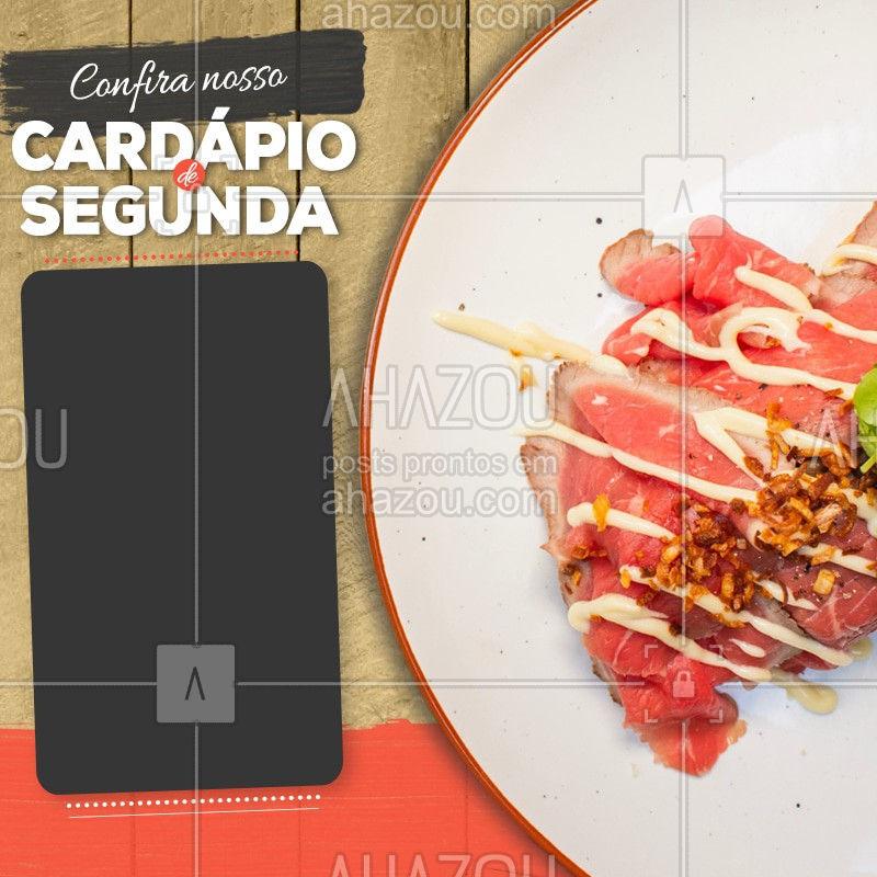 Confira nosso cardápio de segunda-feira. #Cardapio #Ahazou #Restaurant