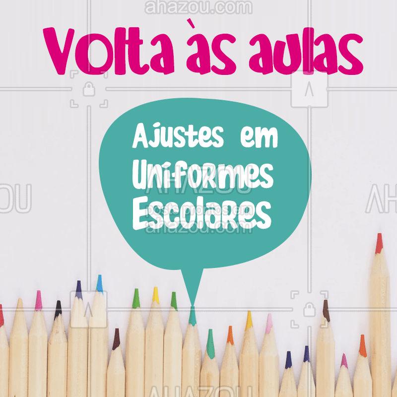 Oferecemos serviços de ajustes para uniformes escolares. ?? Informações: (contato)  #VoltaasAulas #UniformesEscolares #CosturaseReparos #AhazouFashion