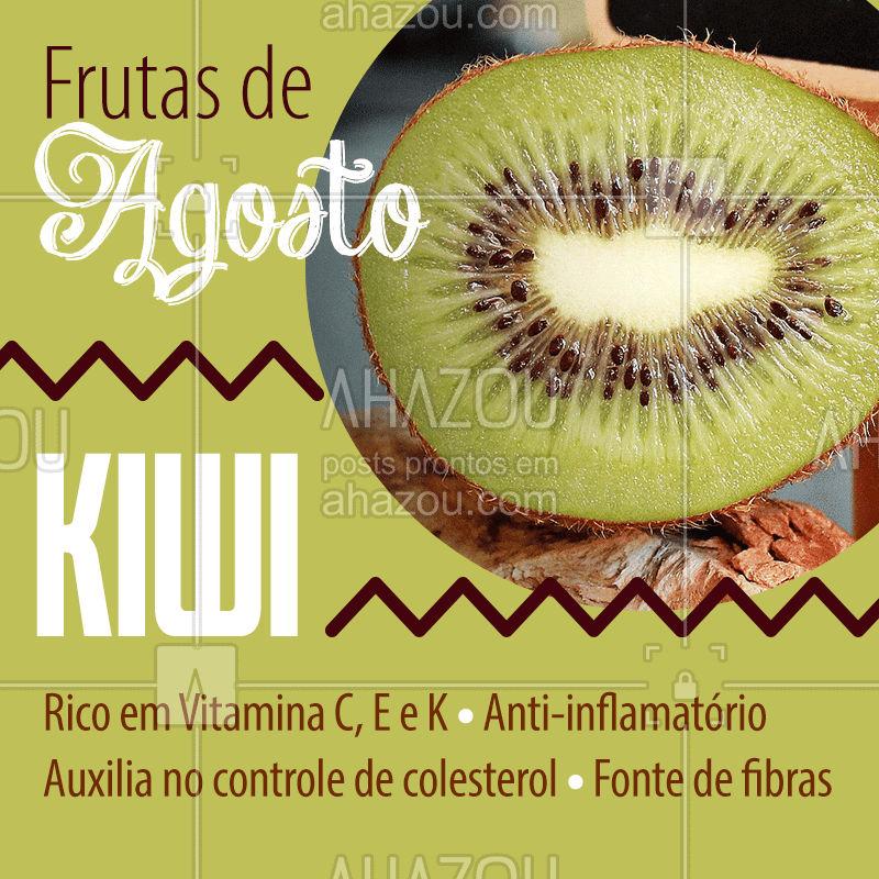 Chegou a época do Kiwi! Olha só todos os benefícios que essa fruta pode trazer pra gente! Aproveite essa época pra se deleciar com essa fruta que, além de tudo, é super bonitinha, né? ??#frutadaestacao #agosto #ahazou #kiwi #saude