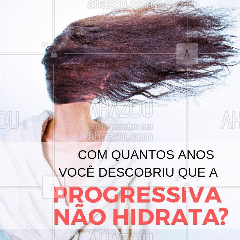 Você sabia? Conta pra gente com quantos anos você descobriu isso! ? A progressiva faz com que o cabelo perca massa capilar e comece a afinar os fios com o tempo, o ideal, para que a progressiva não resseque o cabelo, é realizar hidratações e resonstruções periodicamente. Converse com sua cabeleireira e saiba mais! #dicas #vocesabia #cabelo #ahazoubeleza #progressiva