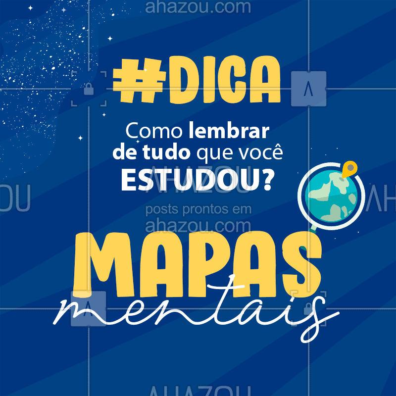 Uma ótima forma de lembrar o conteúdo que você estudou é criando mapas mentais. Nele, você deve colocar as informações necessárias que te ajudarão a recordar o assunto sem precisar pegar o caderno. Como tendemos a ser mais visuais, use sempre cantas ou marcadores de texto com cores diferentes  ou desenhe sobre aquele assunto. Além disso, quando você coloca as informações, já está estudando e relembrando também! #MapaMental #DicasEnem #AhazouEdu #DicasEstudo #Enem #Vestibular