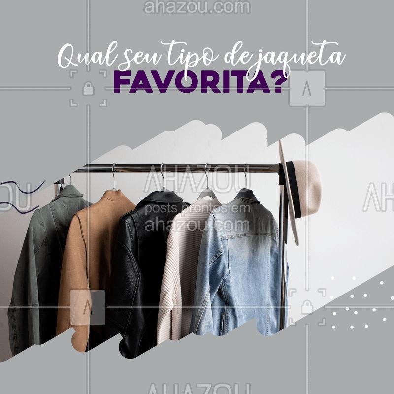 Vamos conversar? me conta aqui nos comentários qual seu tipo de jaqueta favorita, tem a jeans, a de couro e muitaaas outras com qual o seu coração fica mais quentinho?  ??  #jaquetas #roupas #estilo #fashion #ahazou #moda #enquete #conversa #interação #comentários #couro #jeans #tricô