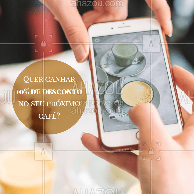 Para ganhar um desconto de 10% no seu próximo café, tire uma foto e poste em seu instagram, não esqueça de nos marcar! Na próxima vez que você vier tomar um café, mostre sua foto e receberá seu desconto! Promoção válida até 30/04/2019. #instagram #café #ahazou #nosmarqueeganhedesconto