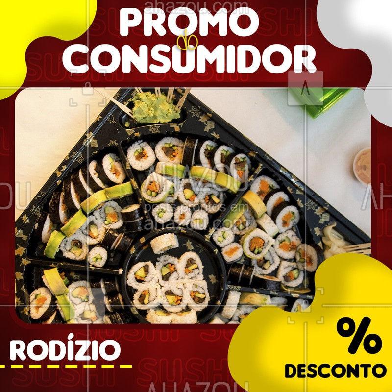O melhor rodízio de comida japonesa da região está com promo especial pro consumidor!É muito desconto, não vai perder né?  Venha conferir! #ahazou #food #comida #japonesa