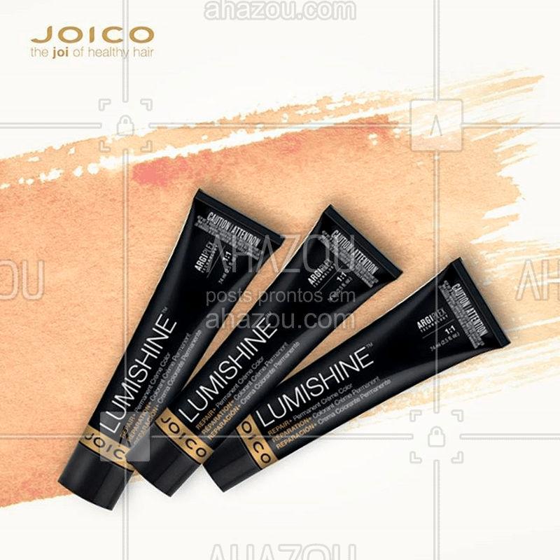 A tecnologia ArgiPlex é exclusiva da linha #Lumishine e graças a ela os fios ficam com aparência saudável, com cor duradoura e muito mais brilho. E, ó, garante 100% de cobertura de cabelos brancos.  #LumishineJoico#Lumishine #ahazoujoico #Coloracao #CabelosSaudaveis #GetGlossy