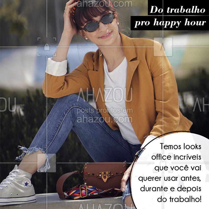 Venha conferir as nossas peças que você pode usar tanto para o trabalho quanto para o happy hour!  Você consegue fazer várias composições legais, modernas e despojadas! Venham aproveitar as nossas novidades. ? #moda #fashion #looks #ahazou #bandbeauty #style