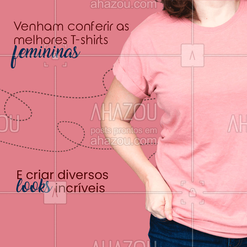 Faça seus looks incríveis, venha conferir todas as nossas T-shirts femininas. Diversos modelos e estampas para agradar todos os gostos. #Tshirts #AhazouFashion #camisetasfemininas #modafeminina