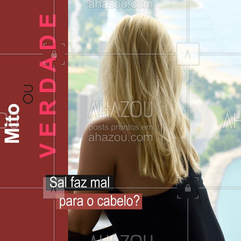 MITO! A campanha contra o uso de sal nos produtos para cabelos cresceu muito de uns anos para cá. No entanto, estudo realizado por pesquisadores da Universidade Federal de São Paulo (USP) e a Universidade Federal de São Paulo (Unifesp), concluíram que essa substância não causa malefícios aos cabelos. #vocesabia #ahazou #salnocabelo #mito
