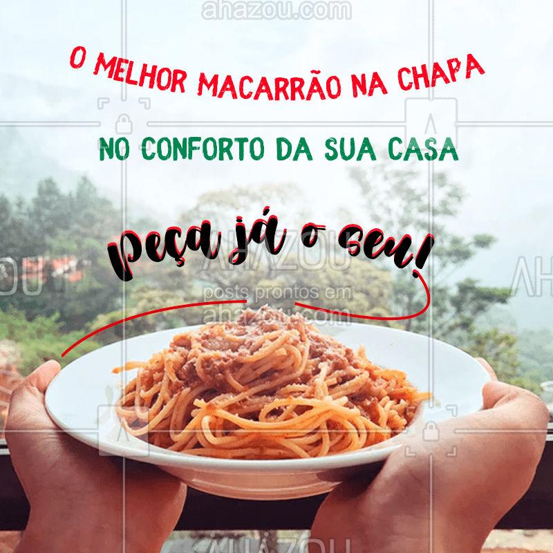 Entre em contato e peça já o melhor macarrão na chapa, entregamos para você no conforto da sua casa. Não fique com vontade, experimente todas as opções. #macarrãochapa #ahazoutaste  #cozinhaitaliana #delivery
