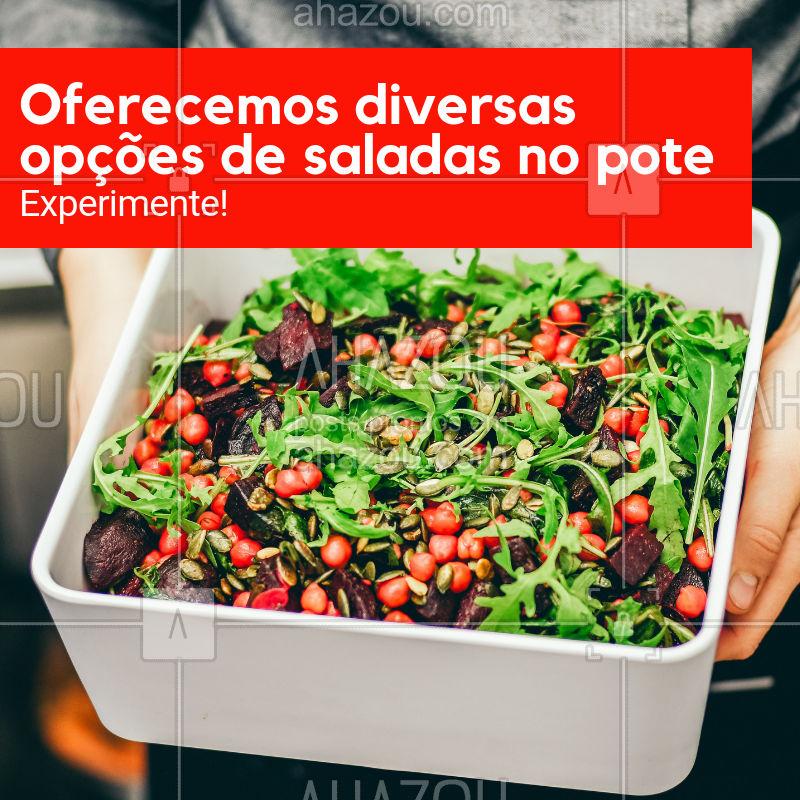 Quer variedade de salada e poupar tempo ao mesmo tempo? Então temos o prato certo para você.  #saladadepote #ahazougastronomia #saude