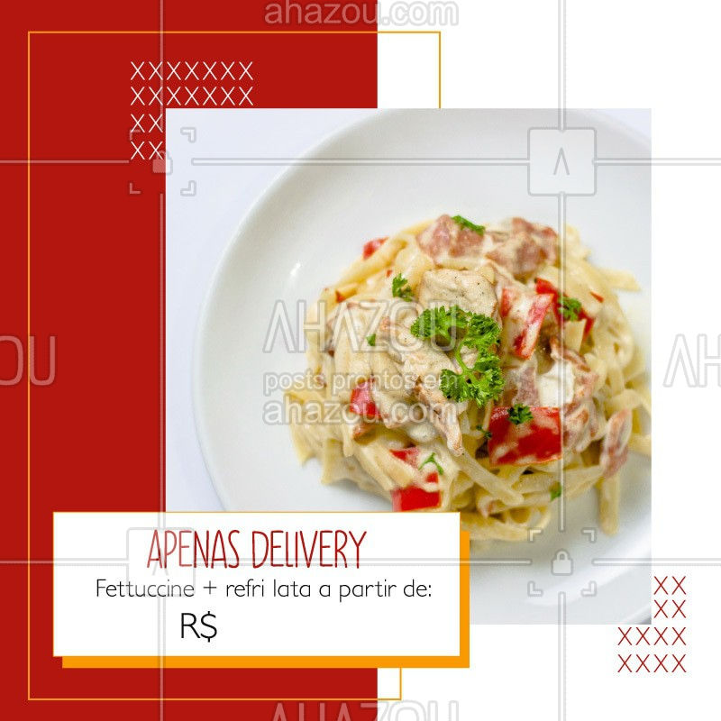 Devido a quarentena, estamos atendendo apenas via delivery, porém, não deixe de aproveitar nossa promoção de fettuccine + refri latal a partir de R$XX. Entre em contato pelo whatsapp xxxxx-xxxx e consulte os sabores disponíveis. #ahazoutaste#delivery #covid19 #coronavirus #cozinhaitaliana #fettuccine #culinariaitaliana