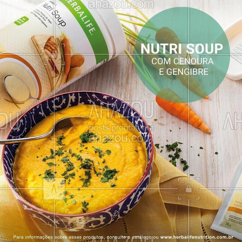 Hmm ? Você pode preparar essa apetitosa Nutri Soup com cenoura e gengibre!    • ½ cebola picada • ½ colher (sopa) de azeite de oliva • 1 dente de alho amassado • 1 cenoura cortada em rodelas ½ xícara (chá) de suco de laranja natural • 250 ml de leite semidesnatado • 3 colheres (sopa) Nutri Soup Frango com Legumes ou 1 sachê • sal e pimenta a gosto • 1 colher (café) de gengibre ralado • cheiro verde a gosto para decorar  MODO DE PREPARO: Em uma panela pequena, refogue a cebola no azeite. Adicione o alho, a cenoura, o suco de laranja. Deixe a panela semi tampada em fogo baixo até a cenoura ficar macia. Acrescente o leite e deixe esquentar sem ferver. No liquidificador (ou mixer) bata o preparado junto com a Nutri Soup Frango com Legumes até ficar com uma consistência cremosa. Tempere com sal, pimenta e o gengibre. Decore com o cheiro verde e sirva.   #herbalife #ahazouherbalife #nutrisoup