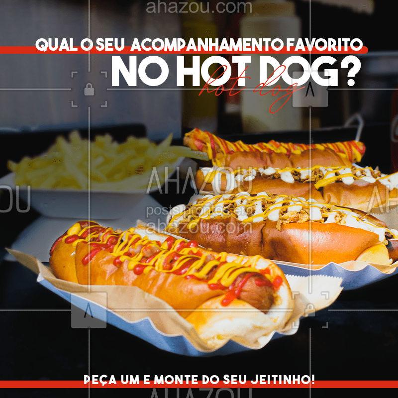 Aqui você escolhe os seus acompanhamentos preferidos, temos para todos os gostos para você virar fã do nosso hot dog ?? #hotdog #cachorroquente #acompanhamento #delivery #entregas #ilovefood #instafood #foodlovers #pedido #ahazoutaste