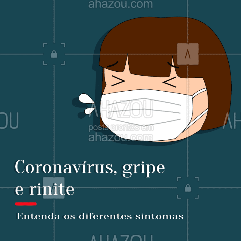 Alguns sintomas entre o novo coronavírus e outras síndromes respiratórias são muito similares. Então, fique atento para diferenciar o que você está sentido ⤵?  ? COVID-19: - Tosse, febre, congestão nasal, coriza, dor de garganta, fadiga, cansaço, diarreia e dificuldade para respirar.  ? RINITE ALÉRGICA: - Espirros, congestão nasal, coriza, coceira nos olhos, nariz e garganta e irritação nos olhos.  ? GRIPE: - Tosse, febre, congestão nasal, coriza, dor de garganta, dor de cabeça, dor muscular, fadiga.  ? Para saber mais, acesse: https://coronavirus.saude.gov.br/  #covid #covid19 #corona #coronavirus #coronavírus #ahazou #soscorona #ahzsoscorona #distanciamentosocial #quaerentena #ficaemcasa #fiqueemcasa #euficoemcasa
