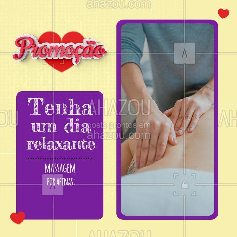 Promoção especial desse mês inteiro. Venha ficar mais relaxado com nossa massagem! Ligue e já marque o seu horário. #Promo #Ahazou #Massagem