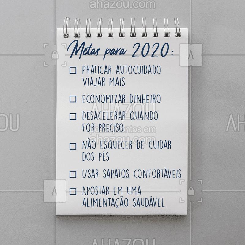 O ano de 2020 já está chegando e junto com ele, muitas oportunidades de mudança vem por aí! ✨ Quem já está fazendo a famosa listinha de metas para a nova década? Me conta quais são as suas! ? #metas #metas2020 #fimdeano #podologia #ahazou #anonovo #novadecada