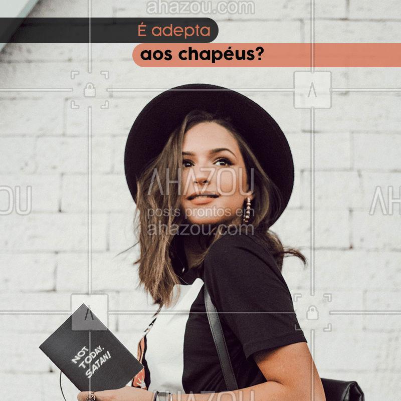 Já pensou em fazer produções de look com chapéus ?? Eles existem há muito tempo na moda feminina e dão um toque especial para as composições, além de protegerem do frio, sol e ajudar nos dias que nossos cabelos não estão cooperando ✨. Comenta aqui embaixo se você gosta de usá-los e qual seu modelo preferido! #moda #tendência #chapéu #hat #AhazouFashion #look #lookdodia #combinações #composições #AhazouFashion