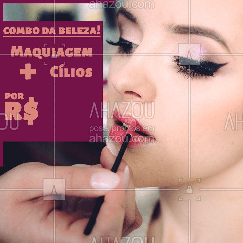 Esse é o verdadeiro combo da beleza feminina. Aproveite e agende seu horário! #makeup #ahazoumaquiagem #ahazou #cilios #combo #promocao #beleza