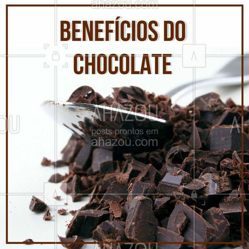 O chocolate é sempre visto como vilão, o que nem sempre é verdade. Se você consumir, por exemplo, chocolate amargo ou meio amargo, ele pode te proporcionar uma série de benefícios como estimular o sistema nervoso central, diminui a pressão arterial, protege a pele do sol, melhora a função cerebral e diminui a fome! Mas lembre-se, consuma com moderação, afinal o segredo de uma vida saudável está sempre no equilíbrio.  #saúde #ahazou #chocolate #beneficios