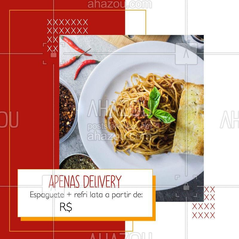 Devido a quarentena, estamos atendendo apenas via delivery, porém, não deixe de aproveitar nossa promoção de espaguete + refri latal a partir de R$XX. Entre em contato pelo whatsapp xxxxx-xxxx e consulte os sabores disponíveis. #ahazoutaste#delivery #covid19 #coronavirus #cozinhaitaliana #massa #culinariaitaliana