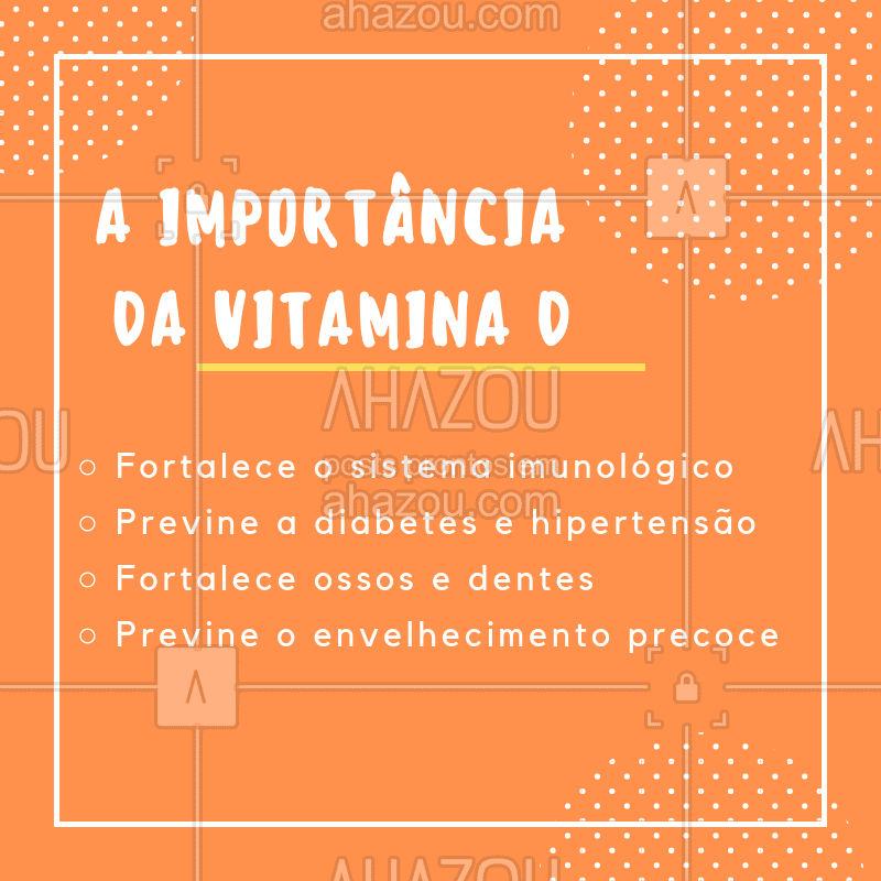 A vitamina D é essencial para o corpo humano. Saiba os benefícios dessa vitamina e mantenha ela na sua rotina! ❤️️ #vitaminaD #ahazousaude #saude #bemestar