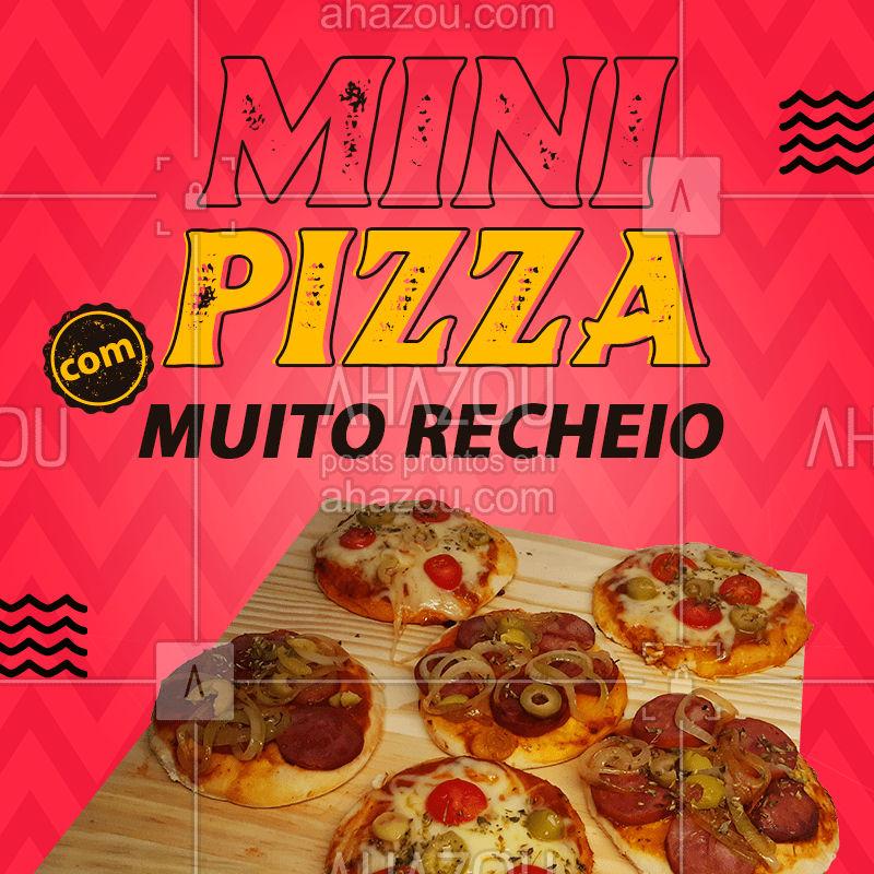 As nossas mini pizzas são feitas com MUITO RECHEIO, garantindo qualidade e sabor para você. Peça já as suas! ??  #MiniPizza #Pizza #PIzzaDelivery #MuitoRecheio #ahazoutaste  #pizzaria #pizzalife #pizzalovers