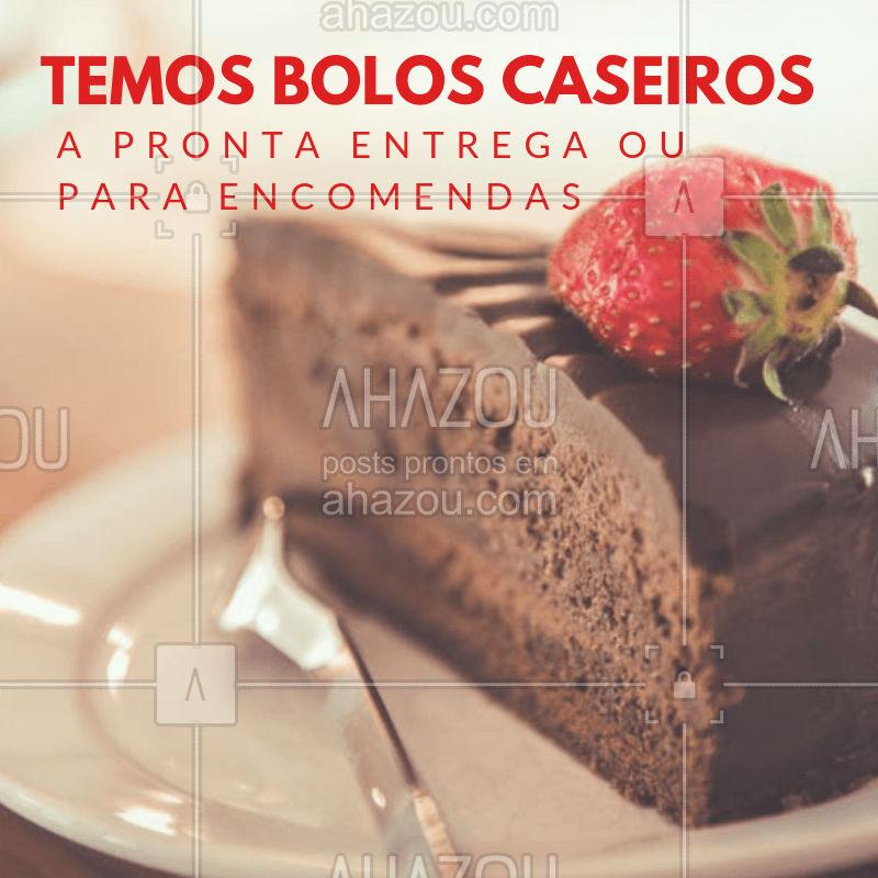 Diversos sabores para você se apaixonar! Faça já a sua encomenda XXXX-XXXX #boloscaseiros #doces #ahazou #encomendas #bolos