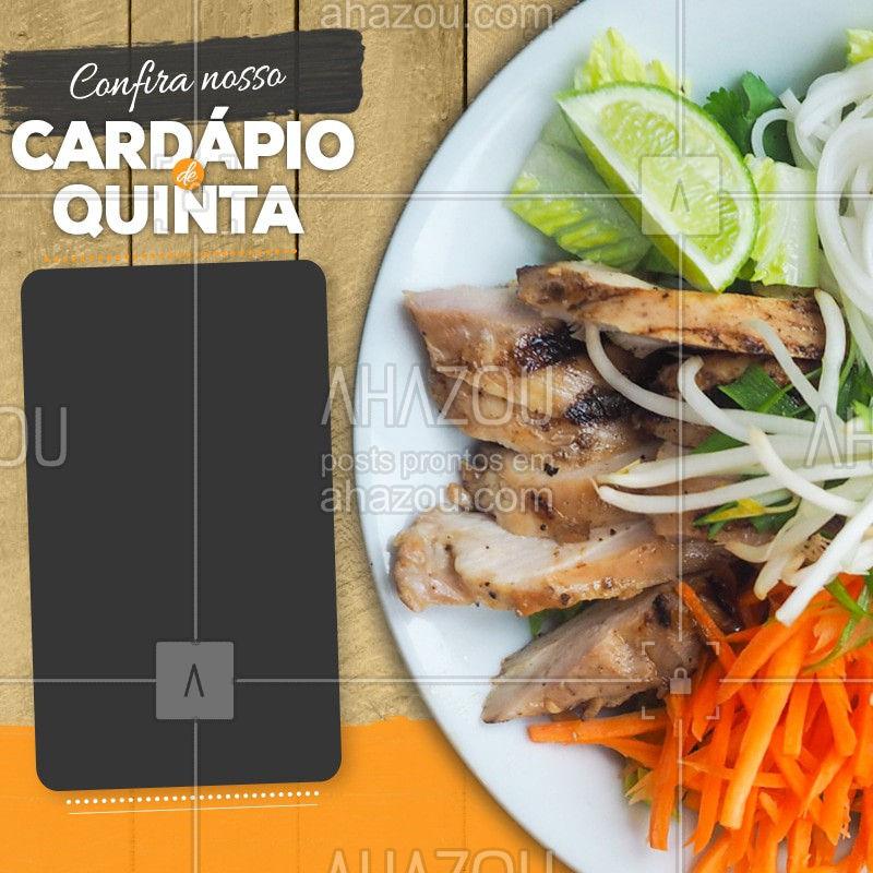 Confira nosso cardápio de quinta-feira. #Cardapio #Ahazou #Restaurant