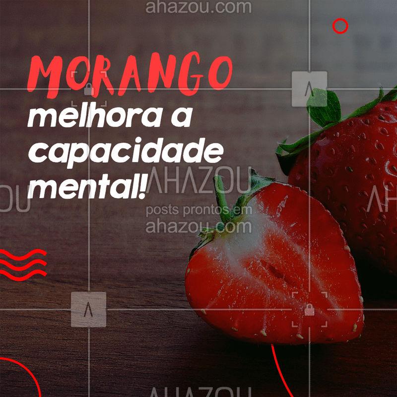 Com o passar dos anos, as nossas células cerebrais inflamam e oxidam, o que pode causar danos a memória e a concentração. E o morango ajuda a evitar que esse problema se desenvolva, mantendo a saúde do cérebro.  #dicas #saúde #morango #ahazou