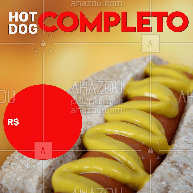 Hot Dog completo e com sabor inesquecível. Peça já o seu! #hotdog #cachorroquente #dogão #completo #gastronomia #delivery #ahazou #dleicia #ahazoutaste