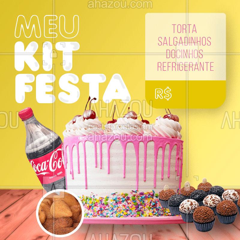 Kit festa para __ pessoas com precinho pra lá de especial ? Praticidade e bom preço em um só kit ???  Encomende já o seu ??  #kitfesta #doces #salgados #festa #evento #ahazoutaste #food #salgadinhos