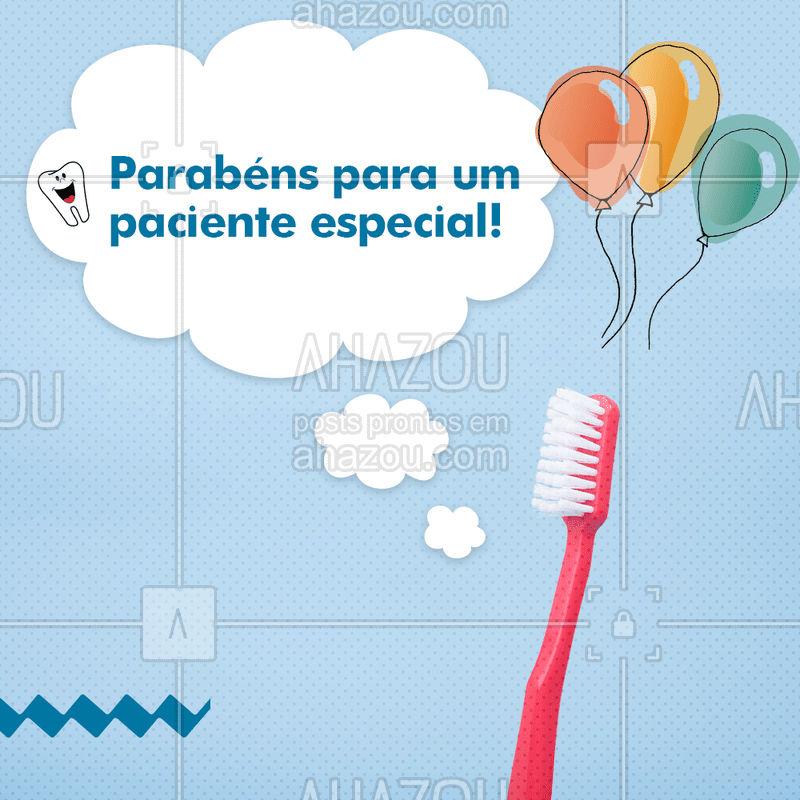 Nós, da clínica (colocar nome da clínica aqui), desejamos um feliz aniversário para você, nosso paciente especial??! #felizaniversario #happybirthday #AhazouSaude  #odonto #odontologia #saude