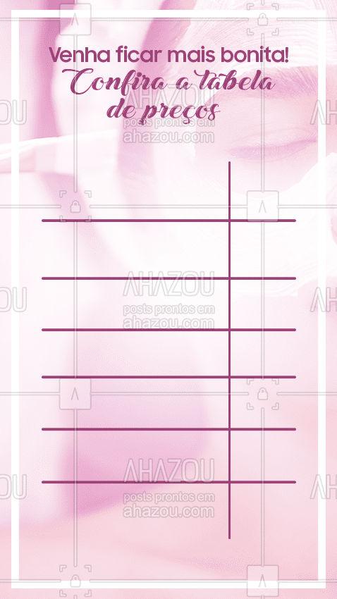 Disponibilizamos todos os nossos procedimentos em uma tabela de preços! Agende seu horário! #AhazouBeauty #beauty #estetica #beleza #AhazouBeauty