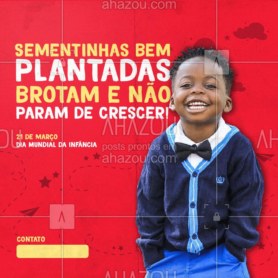 Feliz Dia Mundial da Infância! Estamos prontos para ajudar seus filhos a realizar sonhos. Aguardamos seu contato. #aula #DiaMundialdaInfancia #AhazouEdu  #aulaparticular #educação